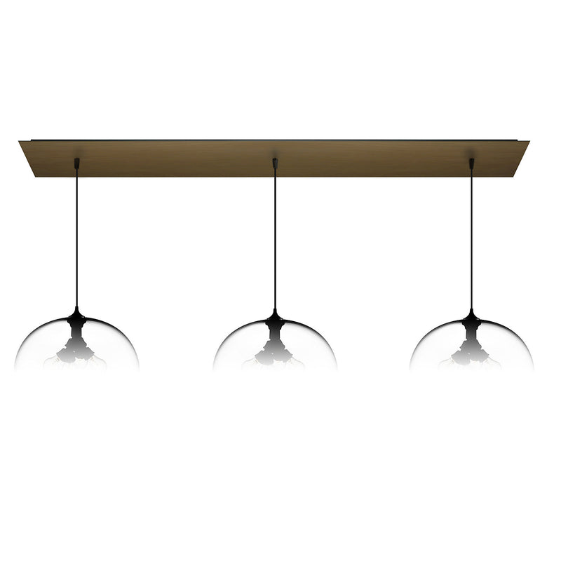 Antiqued Brass Linear-3 Large Canopy