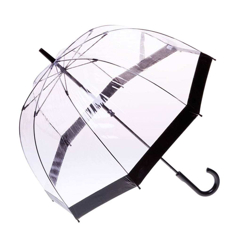 Clifton Clear Dome PVC Birdcage Black Border Umbrella.