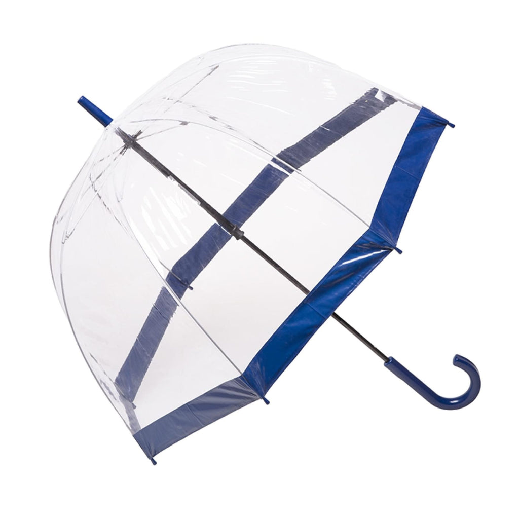 Clifton Clear Dome PVC Birdcage Navy Border Umbrella.