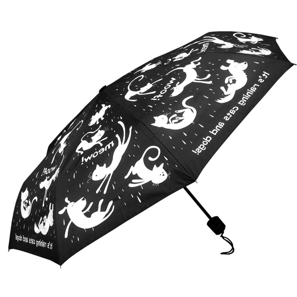 Clifton Compact Manual Black White Series Raining Cats and Dogs