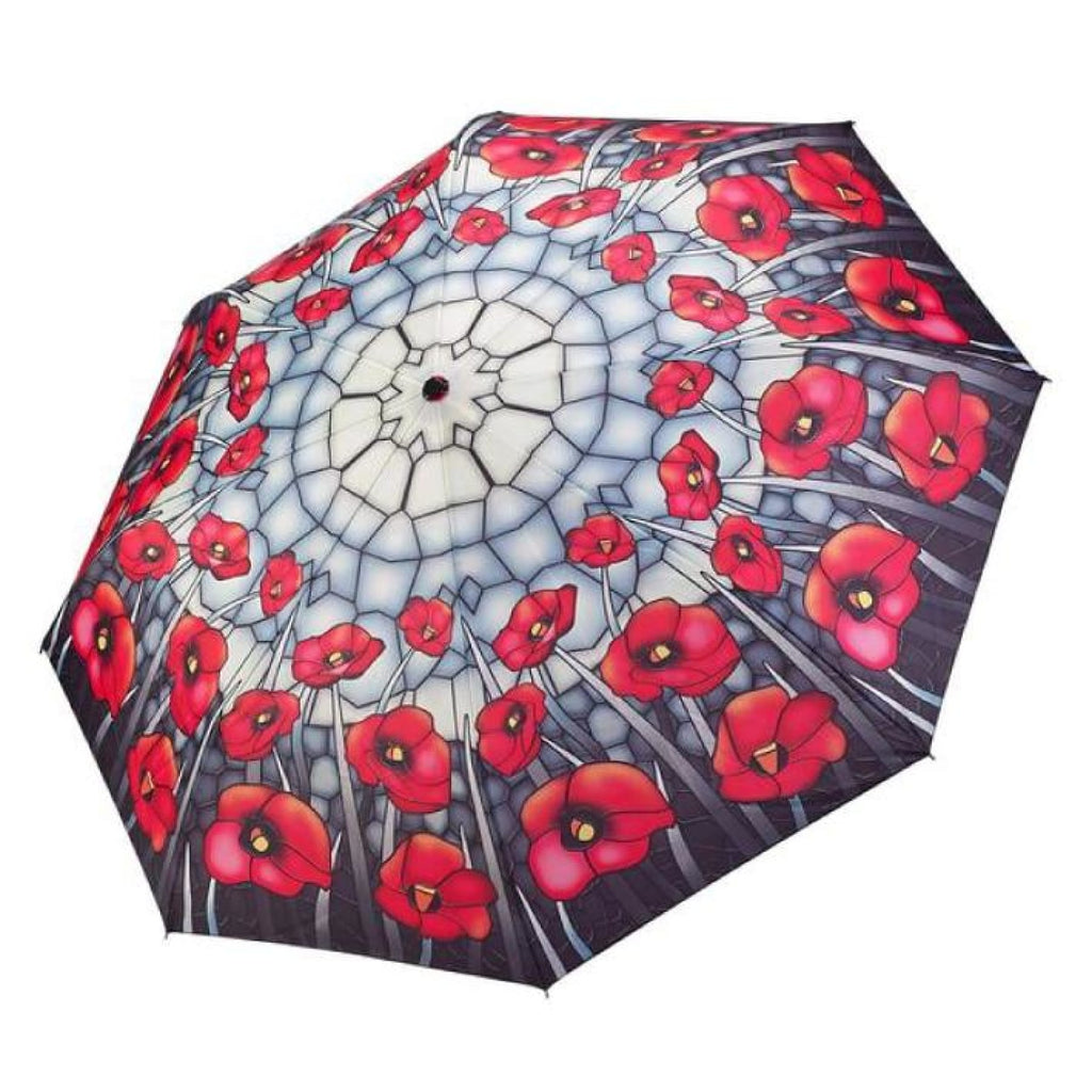 Clifton Galleria Stained Glass Poppies Auto Open Close Folding