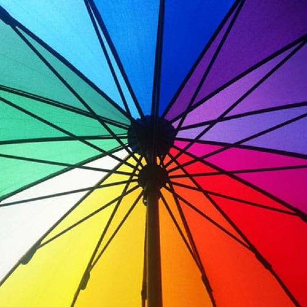 UPF25 Shelta Timber 16 Colour Rainbow Umbrella.