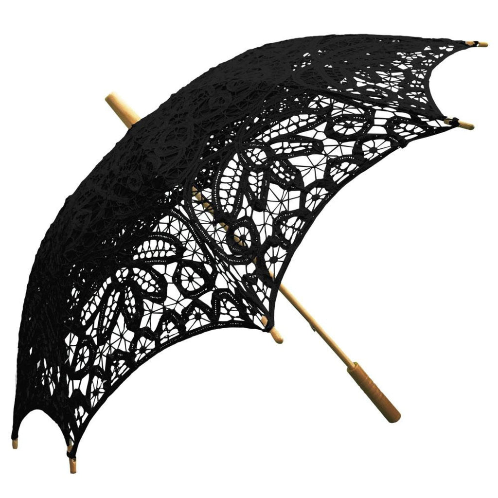 Willow Tree Cotton Battenburg Lace Wedding Parasol Black