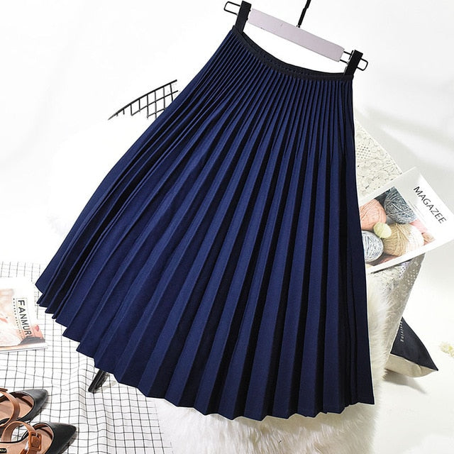 Women Elegant Pleated Skirt High Waist - JulesFashions