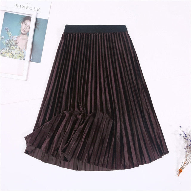 Velvet Skirt High Waisted Elegant Pleated Skirts - JulesFashions