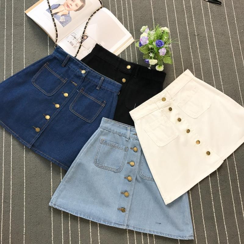 Summer Womens Ladies A-line Pencil Jeans Skirt Front Button High Waist Denim Small Pockets Skirt - JulesFashions