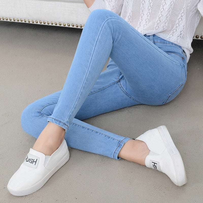 Denim Jeans Womens High Waist Stretch Pencil Skinny Ankle-length Pants - JulesFashions