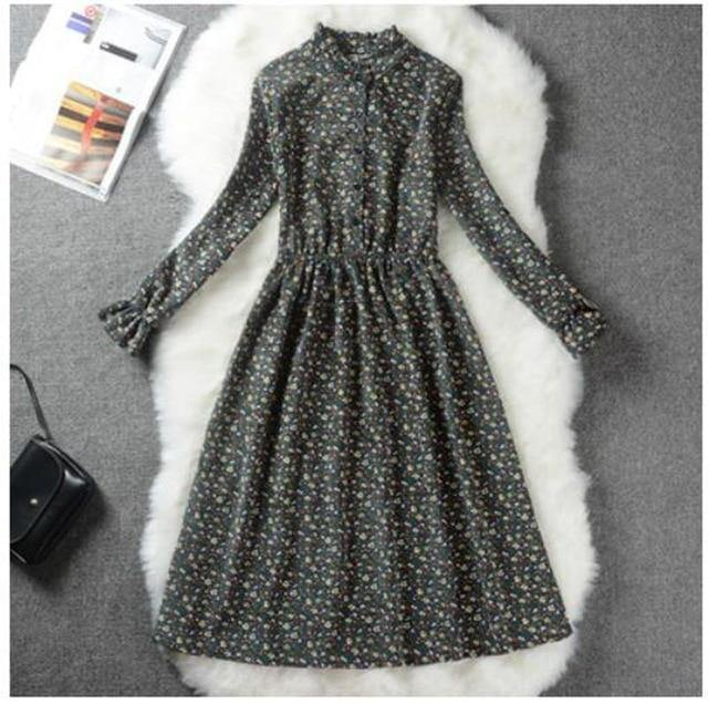 Women Collar Print Long Sleeve Dress - JulesFashions