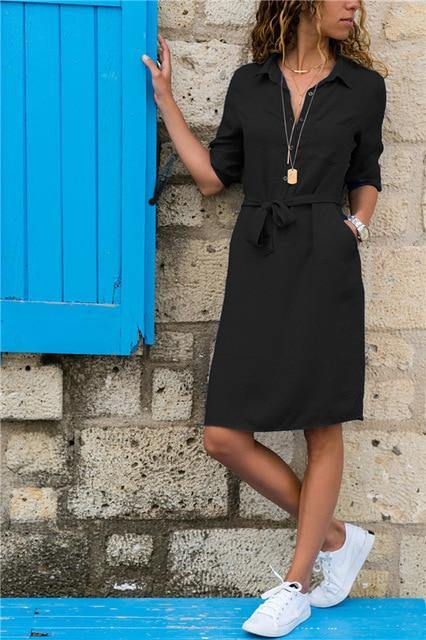 Turn-down Collar Party Dress - JulesFashions