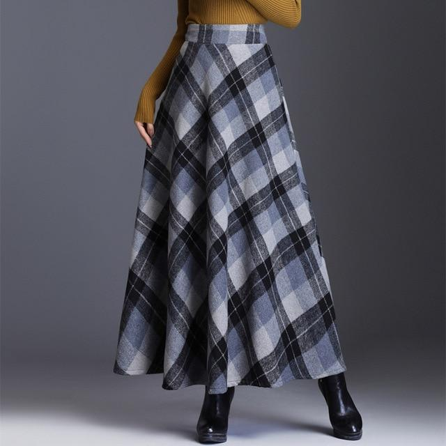 Fashion Plaid Tall Waist Long Clothing - JulesFashions