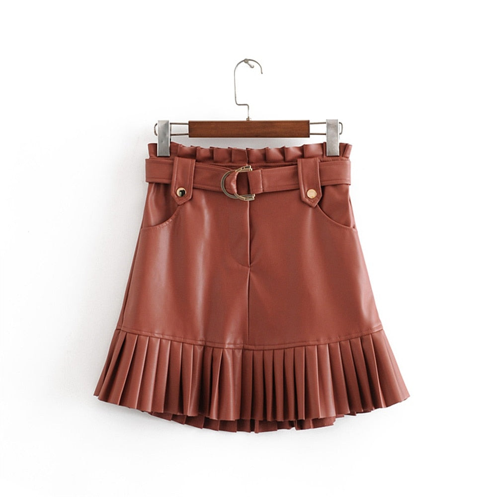 Small pleated imitation leather mini-step cake skirt - JulesFashions