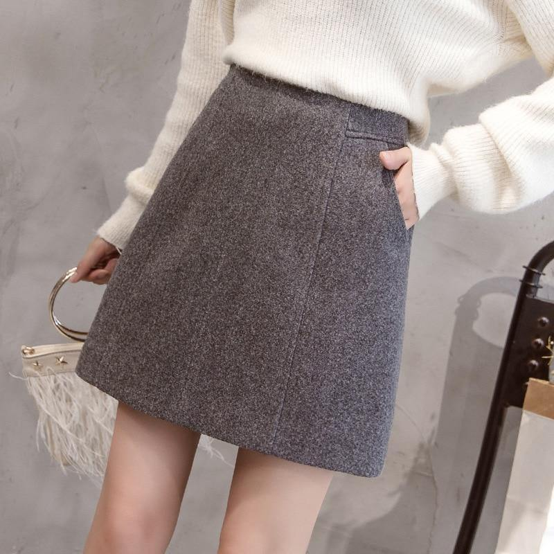 High-waist Wool Mini Skirt - JulesFashions