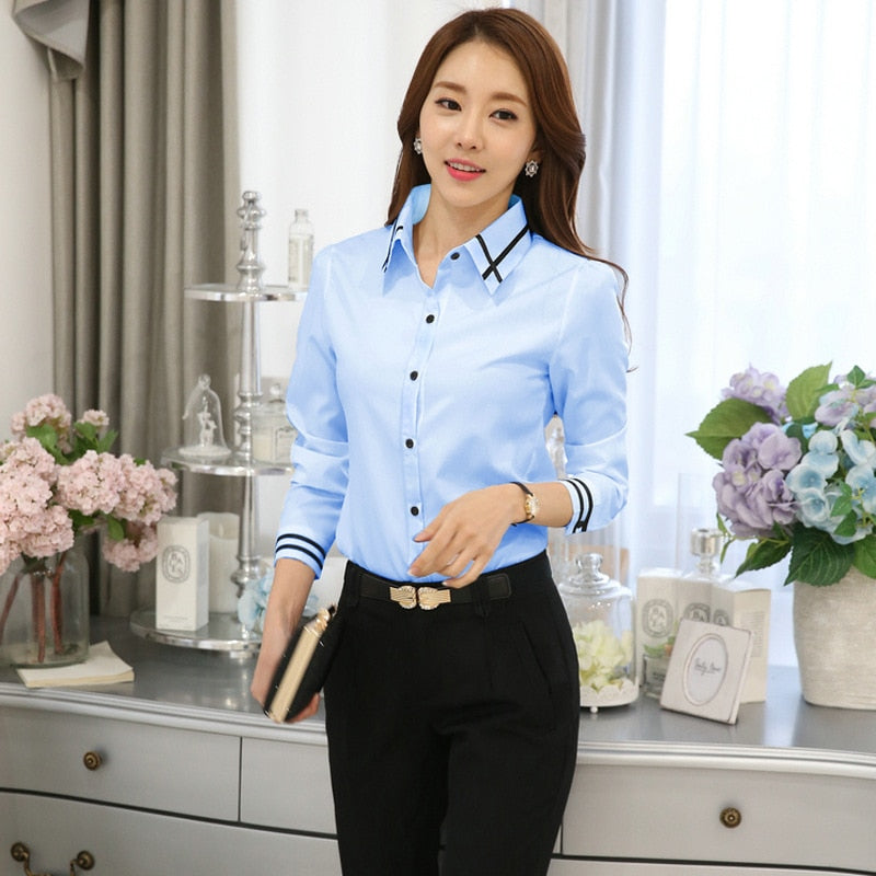 Womens Office Chiffon Slim Blouse Plus Size Casual Long Sleeve Simple Tops - JulesFashions