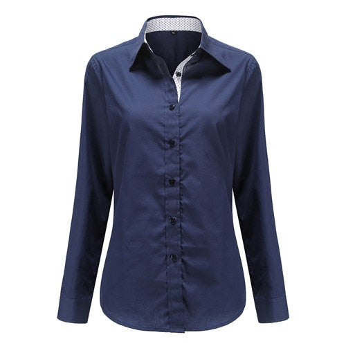 Red Blue Dot Women Shirts - JulesFashions