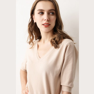 Spring Summer Women Sweaters Pullovers Solid V-neck Short-sleeved Knit Cashmere Sweater Thin Casual Tops Jumper Female RE2531 - JulesFashions
