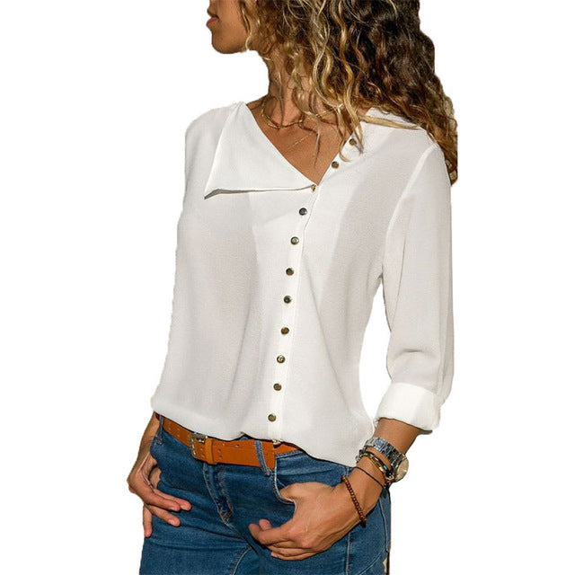 Skew Collar Office Top - JulesFashions