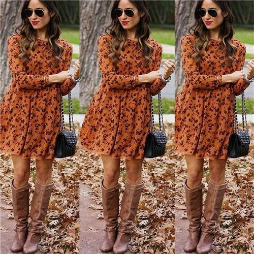 Women Long Sleeve Floral Midi Dresses - JulesFashions