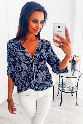 Casual V Neck Front Zipper Blouse - JulesFashions