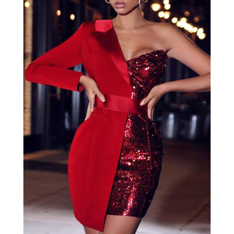 Women Sequined Patchwork Sexy Dress One Shoulder Cut Out Sequin Sparkly Party Dress Red Dresses - JulesFashions