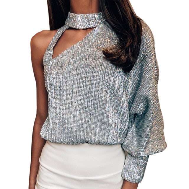 Women Blouses Sexy Off Shoulder Long Sleeve Sequin Shiny Party Shirts - JulesFashions