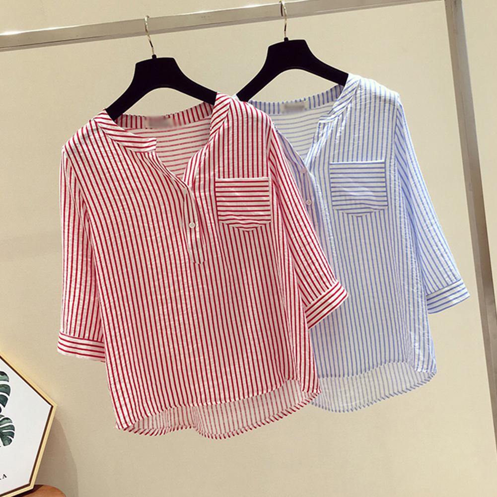Loose V-collar Vertical Striped Tops - JulesFashions