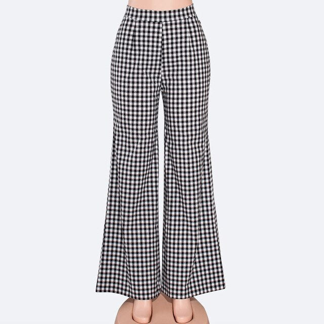 Women Checkboard Pants Wide Leg Office Plaid High Waist Slacks Workwear Palazzo - JulesFashions