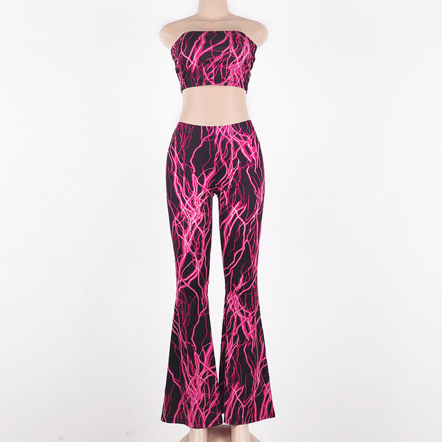 TWO PIECE SET Sexy Crop Top Strapless Flare Pants Wide Leg Club Party Festival Palazzo Clubwear - JulesFashions