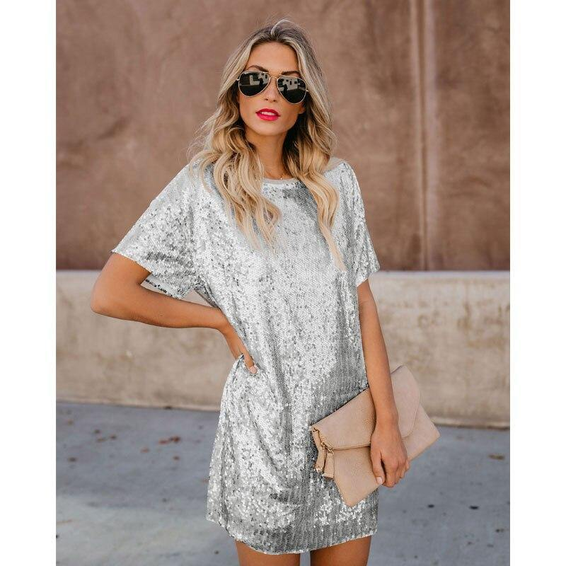 Plus Size Sequin Mini Dress - JulesFashions