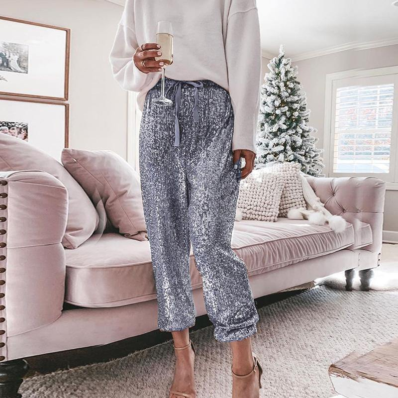 Sexy Sequin Casual Loose Trousers - JulesFashions