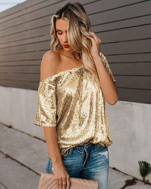 Off My Shoulders Sequin Top