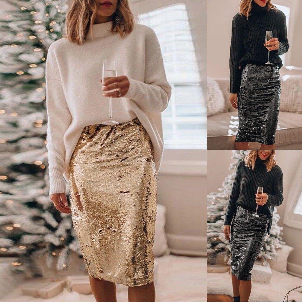 Star Sequined High Waist Midi Skirt