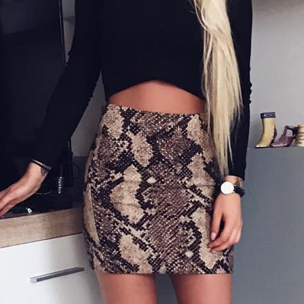 Women Skirt Vintage Sexy Snakeskin Patterned Bodycon Skirt Sexy High Waist Elastic Short - JulesFashions