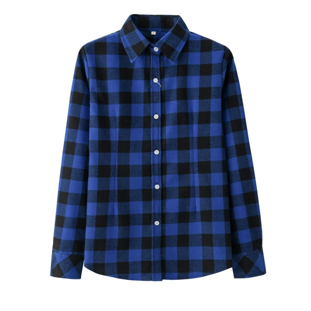 Women Plaid Shirt Checks Flannel - JulesFashions