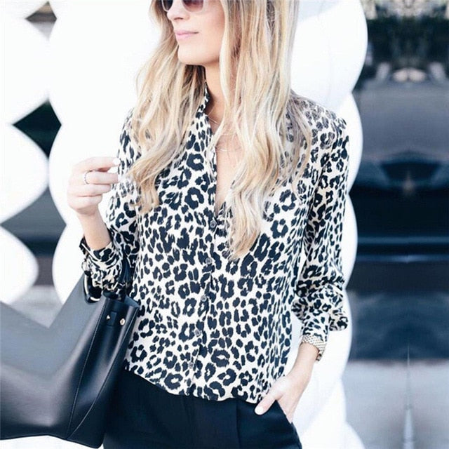 Women Long Sleeve Leopard Blouse V neck Shirt - JulesFashions