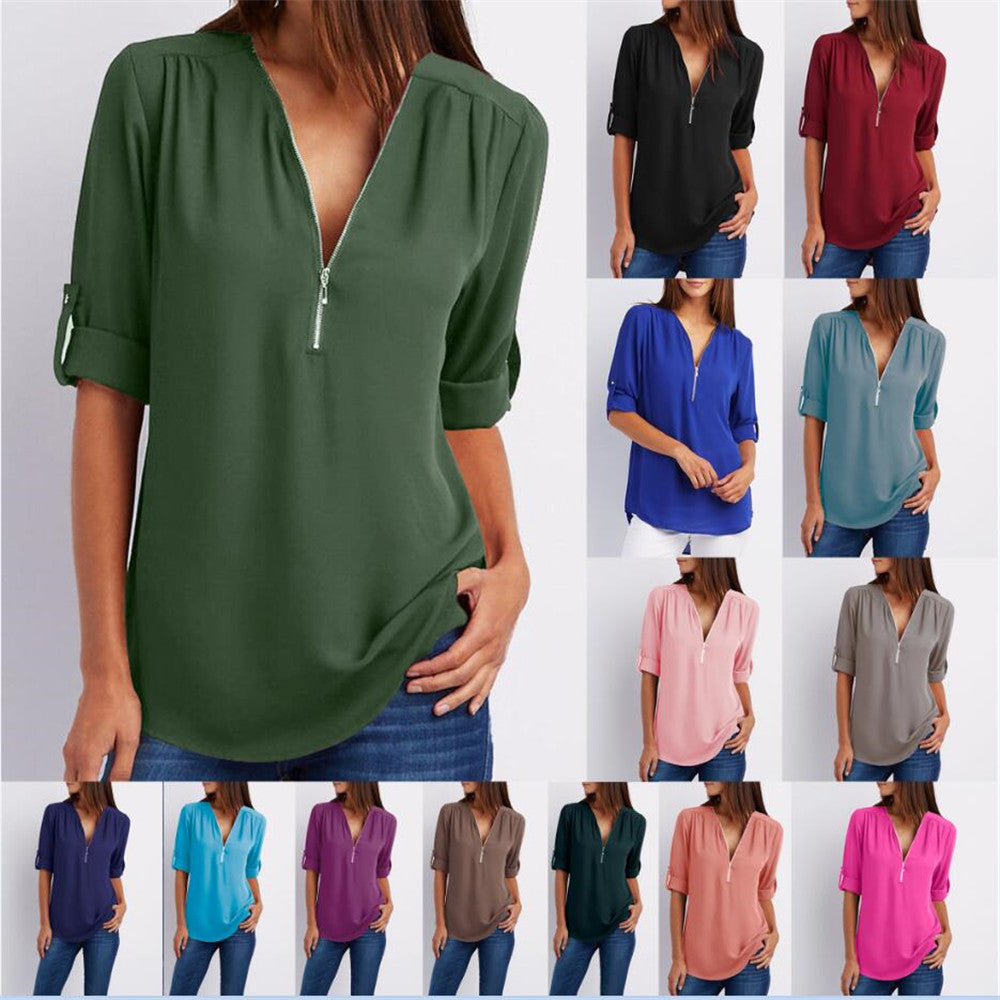 4XL 5XL Plus Size Sexy V Neck Zipper Long Sleeve T Shirt - JulesFashions