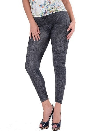 High Elastic Waist Washed Jeans - JulesFashions