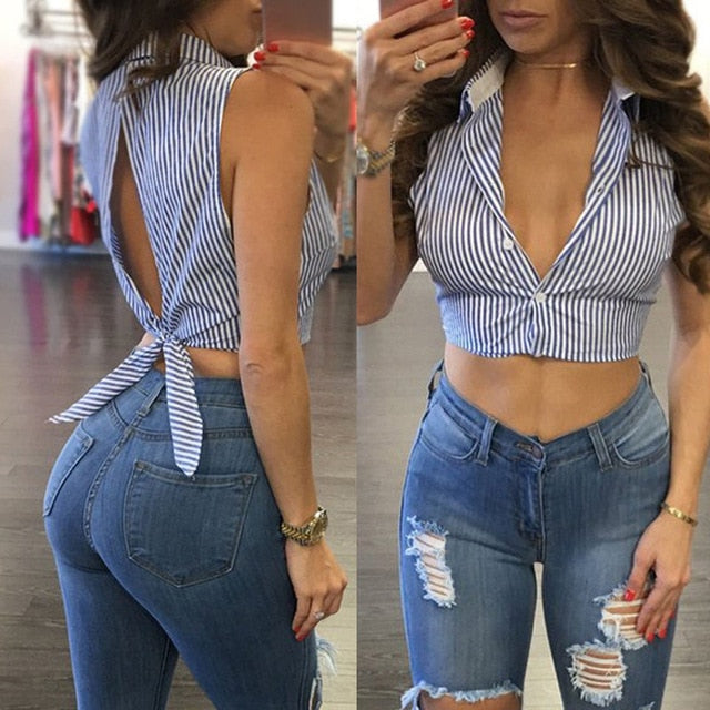 Deep v neck short crop top - JulesFashions