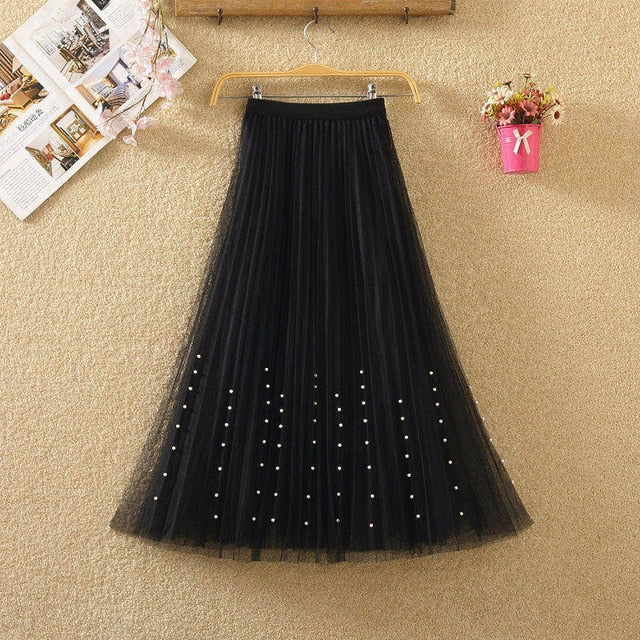 Womens Beading Mesh Tulle Skirt - JulesFashions
