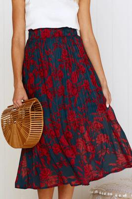 Print Pockets High Waist Pleated Maxi Skirt - JulesFashions