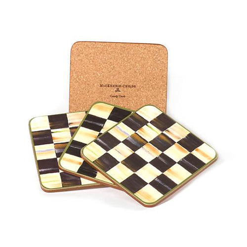 Courtly Check Cork Back Coasters - Set of 4