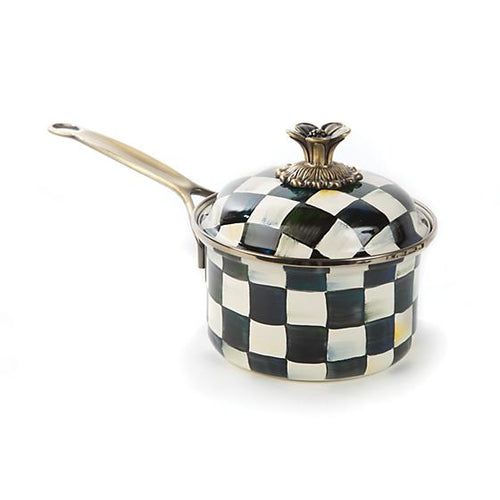 Courtly Check Enamel 1 Qt. Saucepan