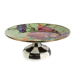 Flower Market Small Pedestal Platter - Green