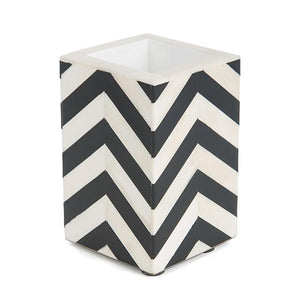 Piazza Cotton Swab Cup - Black & Ivory