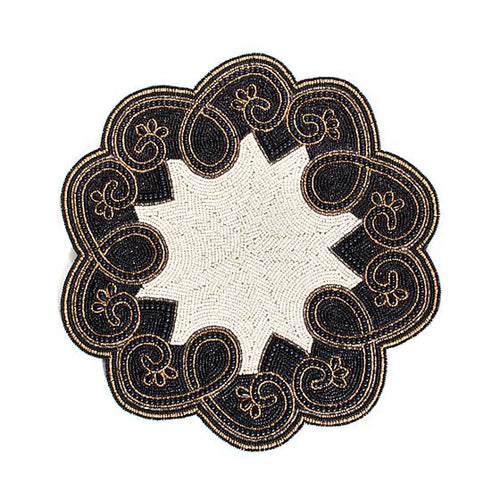 Arabesque Beaded Placemat - Black