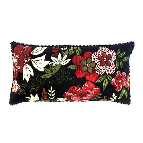 Bluetopia Plum Garden Lumbar Pillow