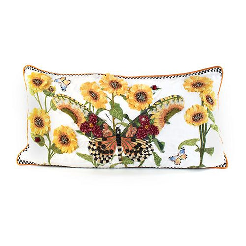 Monarch Butterfly Lumbar Pillow - White