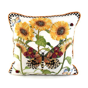 Monarch Butterfly Square Pillow - White