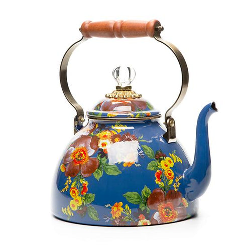 Flower Market 3 Quart Tea Kettle - Lapis