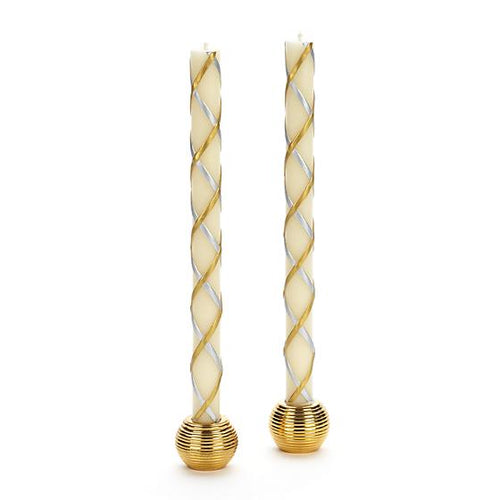 Fishnet Dinner Candles - Gold & Silver - Set of 2