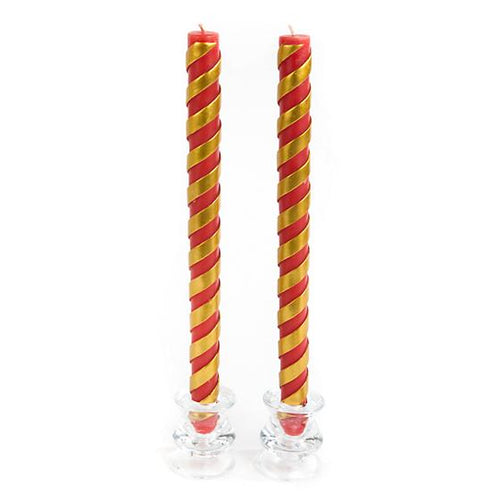 Candy Cane Dinner Candles - Red - Set of 2